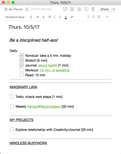 My constantly evolving Evernote daily planner
